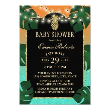 Beach Themed Gold Pineapple Tropical Luau Baby Shower Card