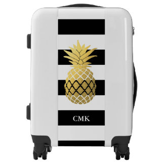 Gold Pineapple with Black and White Stripes Luggage