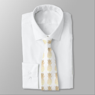 gold pineapples on any color background neck tie