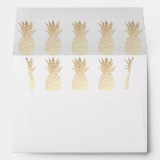 gold pineapples pattern envelope
