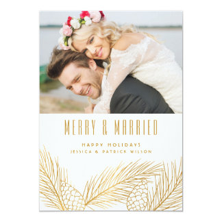 Gold Pinecones and Pine Needles Holiday Photo Card