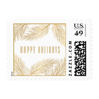 Gold Pinecones and Pine Needles Holiday Stamp