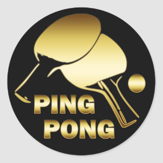 GOLD PING PONG CLASSIC ROUND STICKER