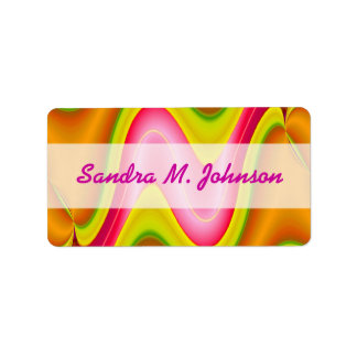gold pink abstract personalized address labels