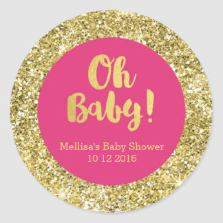 Gold Pink Baby Shower Oh Baby Favor Sticker