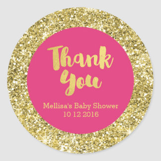Gold Pink Baby Shower Thank You Favor Sticker