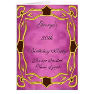 Gold  Pink Birthday Party Invitation