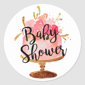Gold Pink Blossom Cake Baby Shower Sticker