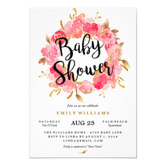 Gold Pink Blossom Wreath Baby Shower Invitation