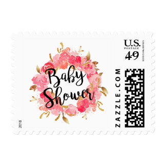 Gold Pink Blossom Wreath Baby Shower Stamp
