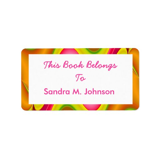 gold pink book plate address label