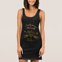 Gold & Pink Bridesmaid Bride Tribe Hand Lettered Sleeveless Dress