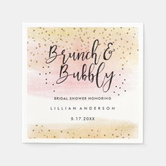 Gold Pink Brunch and Bubbly Bridal Shower Napkin
