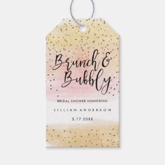 Gold Pink Brunch and Bubbly Bridal Shower Tags