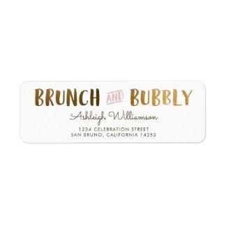 Gold & Pink Brunch & Bubbly Wedding Bridal Shower Label