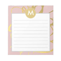 Gold & Pink Brushstrokes Monogram Initial Notepad