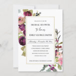 GOLD PINK BURGUNDY ROSE FLORA BRIDAL SHOWER INVITE