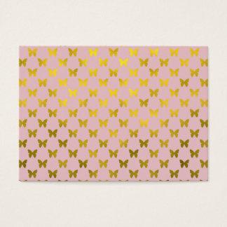 Gold Pink Butterfly Metallic Faux Foil Butterflies Business Card