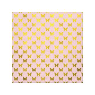 Gold Pink Butterfly Metallic Faux Foil Butterflies Canvas Print