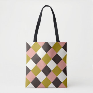 Gold Pink Chocolate Ivory Plaid Tote Bag