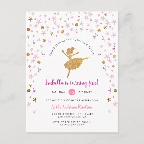 Gold  Pink Confetti Ballerina Birthday Invitation