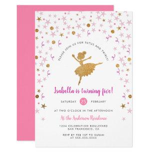 Ballerina birthday invitations announcements zazzle gold pink confetti ballerina birthday invitation filmwisefo