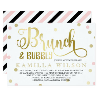 Gold & Pink Confetti Brunch & Bubbly Bridal Shower Card