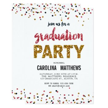 Browse products at zazzle with the theme graduation 35 gold pink confetti graduation party invitation filmwisefo