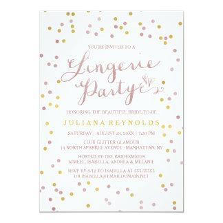 Gold & Pink Confetti Lingerie Party Invitation