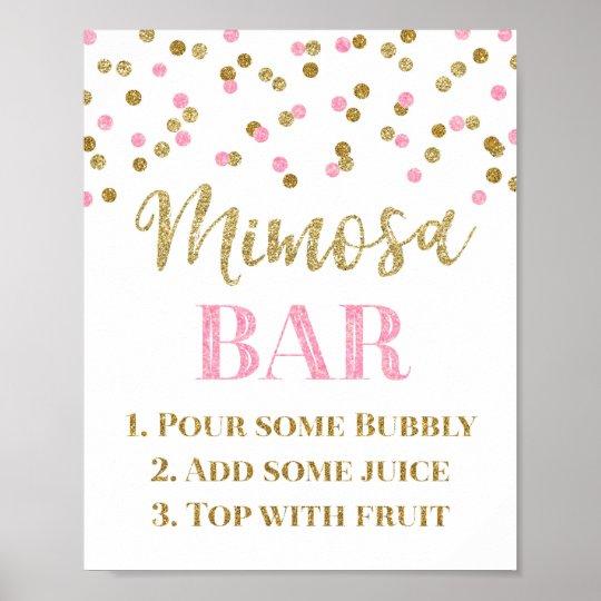 Gold Pink Confetti Mimosa Bar Sign Wedding Zazzle Com