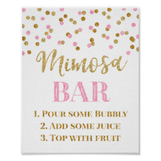 Gold Pink Confetti Mimosa Bar Sign Wedding Poster