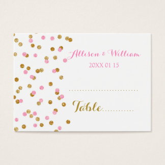 Gold Pink Confetti Table Place Setting Cards