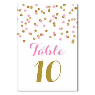 Gold Pink Confetti Wedding Table Number Cards
