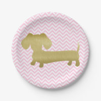 Gold & Pink Dachshund Wiener Dog Party Plates