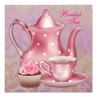Gold Pink Damask Bridal Tea Party Invitations