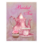 Gold Pink Damask Bridal Tea Party Invitations