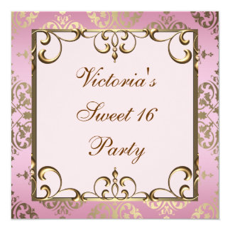 Gold Pink Damask Sweet 16 Birthday Party Card