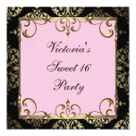 Gold Pink Damask Sweet 16 Birthday Party Custom Announcements