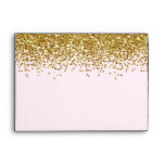 Gold Pink Faux Glitter Envelope