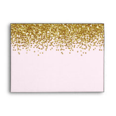 Gold Pink Faux Glitter Envelope at Zazzle
