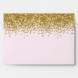 Gold Pink Faux Glitter Envelopes