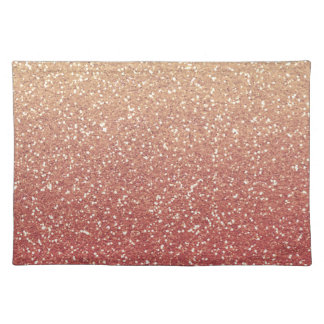Gold Pink Faux Glitter Placemat
