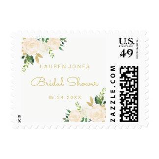 Gold Pink Floral Elegant Bridal Shower Stamp