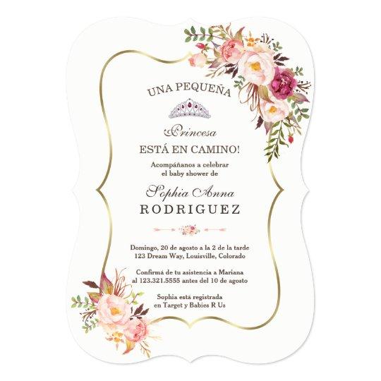 Gold Pink Fl Invitación De Baby Shower Invitation