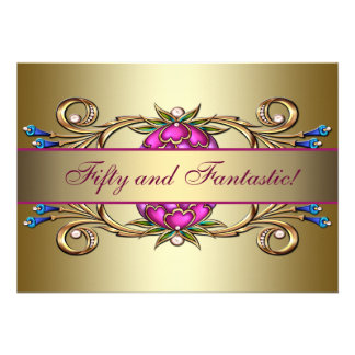 Gold Pink Flower Womans 50th Birthday Party Custom Invitation