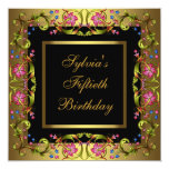 Gold Pink Flowers Womans 50th Birthday Party Invite