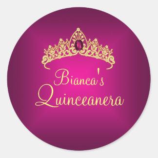Gold & Pink Gem Tiara Quinceanera Sticker