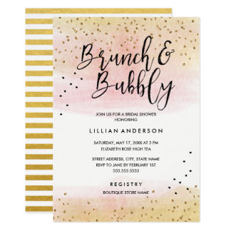 Gold Pink Glitter Brunch and Bubbly Bridal Shower Card