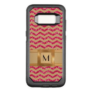 Gold & Pink Glitter Chevron Gold Band Defender OtterBox Commuter Samsung Galaxy S8 Case