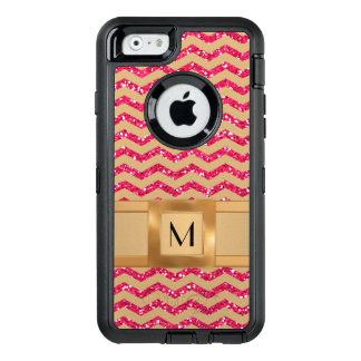 Gold & Pink Glitter Chevron Gold Band Defender OtterBox Defender iPhone Case